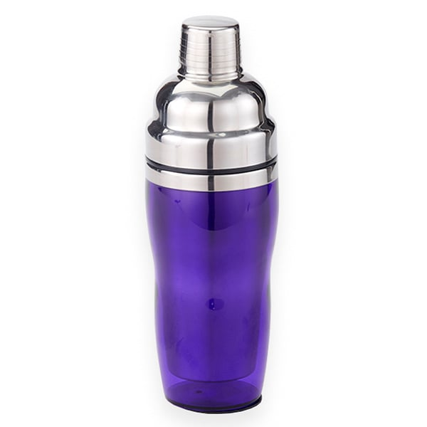 American Metalcraft PAS61 3 Piece Cocktail Shaker w/ 16 oz Capacity, Purple/Stainless