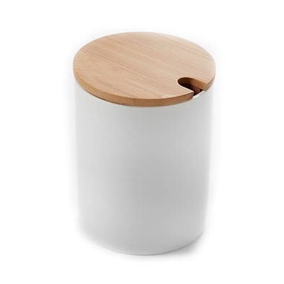 American Metalcraft PCBL12 12-oz Round Canister - Bamboo Lid/White Porcelain