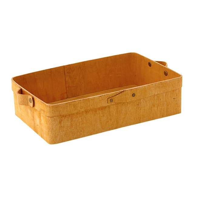 "American Metalcraft PWRB12 12.4"" Rectangular Basket w/ Handles, Poplar Wood"