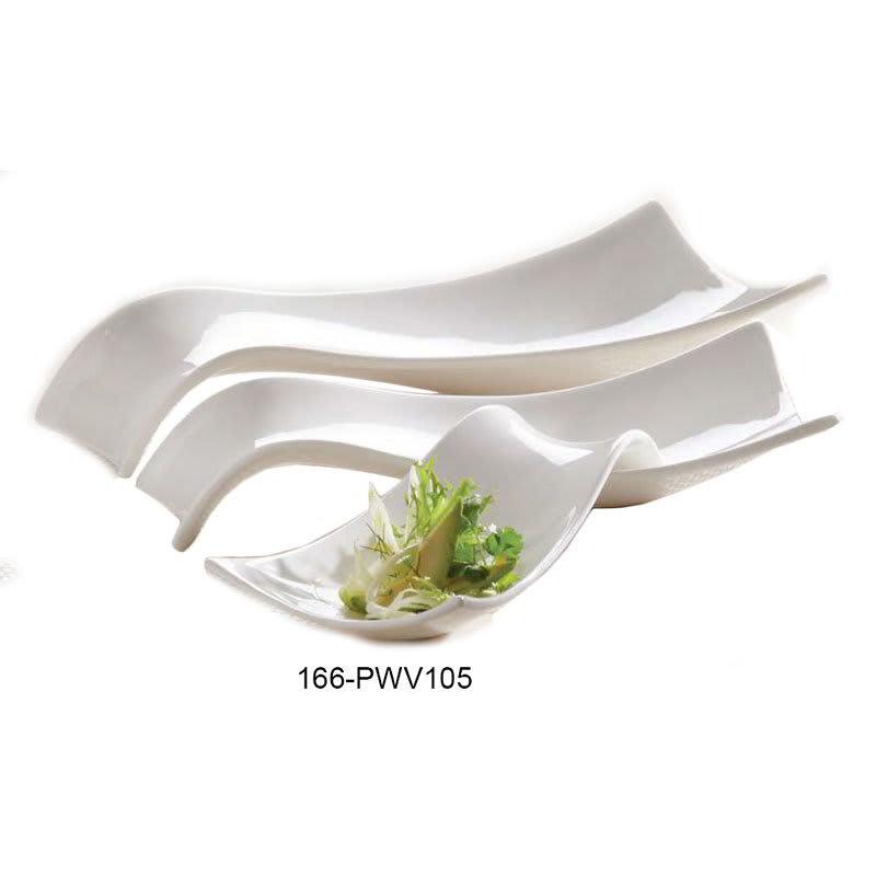 "American Metalcraft PWV105 Tray w/ Wavy Design, 10.5x5"", Porcelain/White"