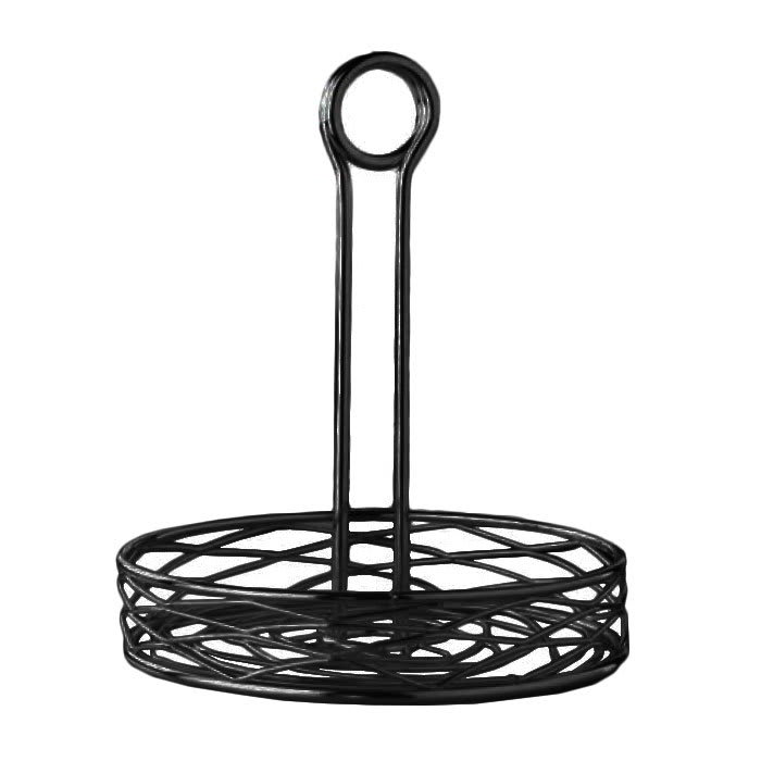 "American Metalcraft RBNB17 7.75"" Round Wire Condiment Rack w/ Center Handle, Black"