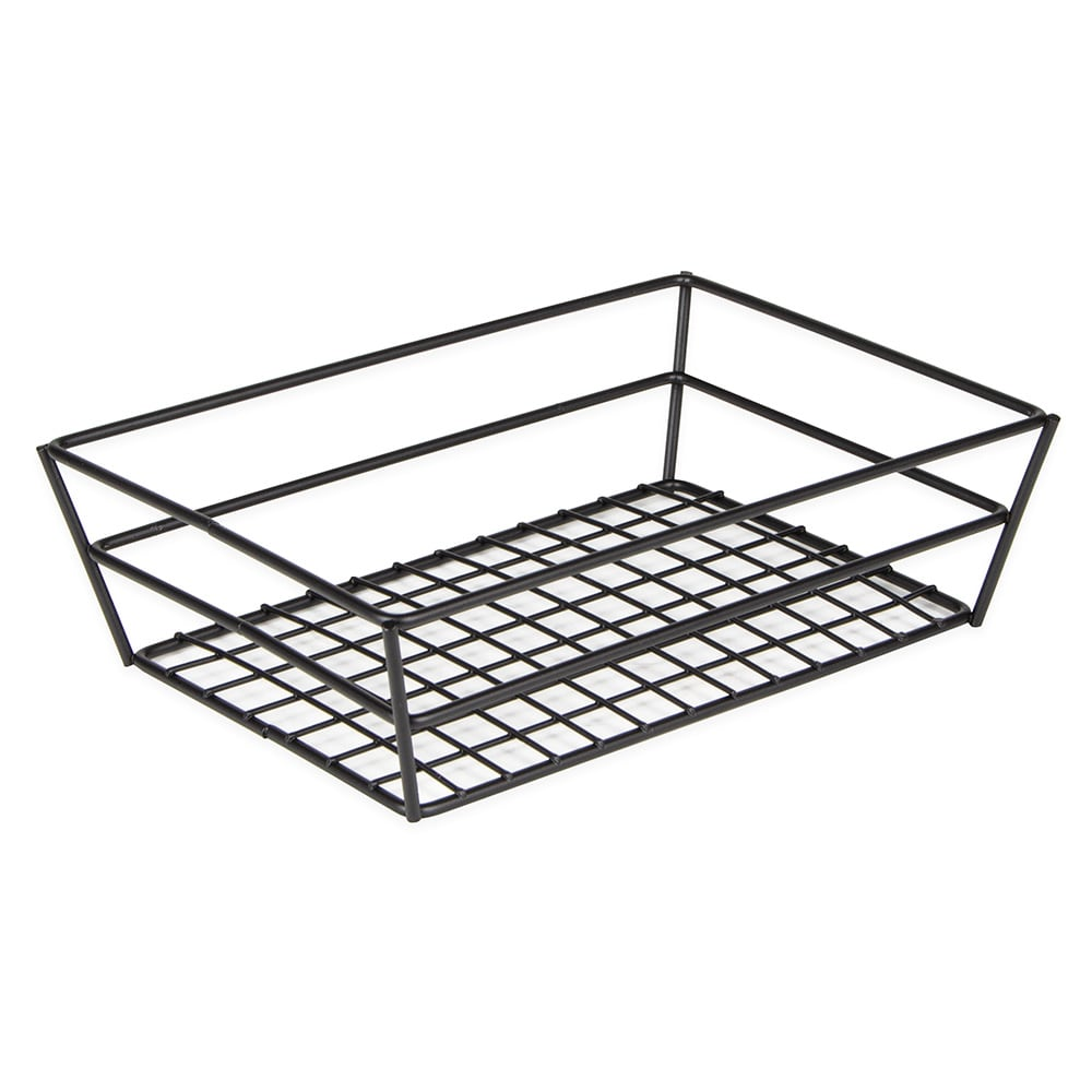 American Metalcraft RMB95B Rectangular Basket w/ Grid Bottom, Black