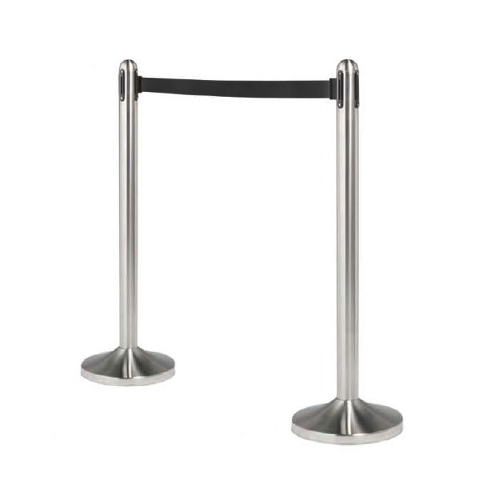 American Metalcraft RSRTBK Portable Barrier System w/ Retractable Black Tape, Stainless