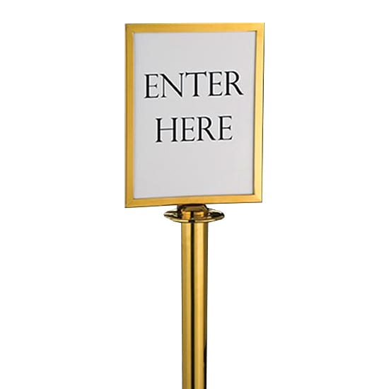 """American Metalcraft RSSIGNLSPG Barrier System Sign, 8.5x11"""", Gold"""
