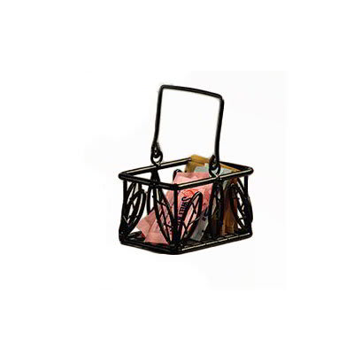 American Metalcraft SBL353 Sugar Packet Basket w/ Leaf Design, Wrought Iron/Black
