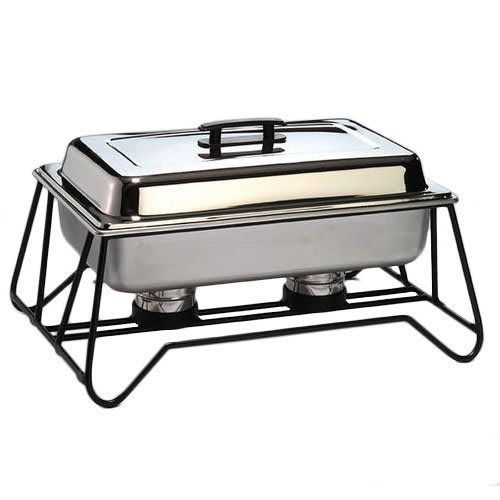 American Metalcraft SCF2 Stackable Chafer Frame w/ 2-Slot For Fuel Holder, Wrought Iron/Black