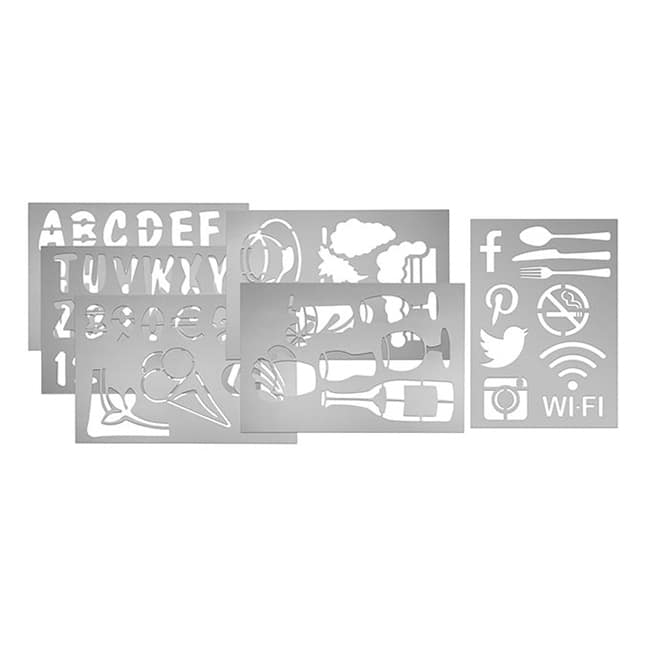 "American Metalcraft SECSTN5 6 Piece Stencil Set, 9x13"", Transparent"