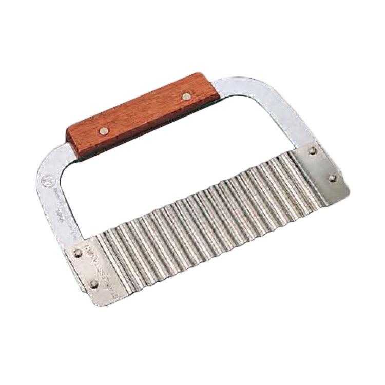 "American Metalcraft SER75 7"" Crinkle Cut Serrator w/ Corrugated Blade, Stainless/Wood"