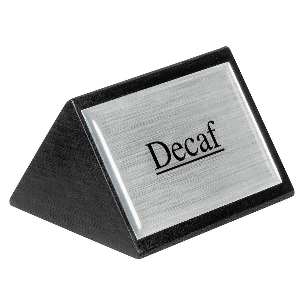 "American Metalcraft SIGND4 ""Decaf"" Table Tent Sign - 1.75"" x 3"", Silver/Black Wood"