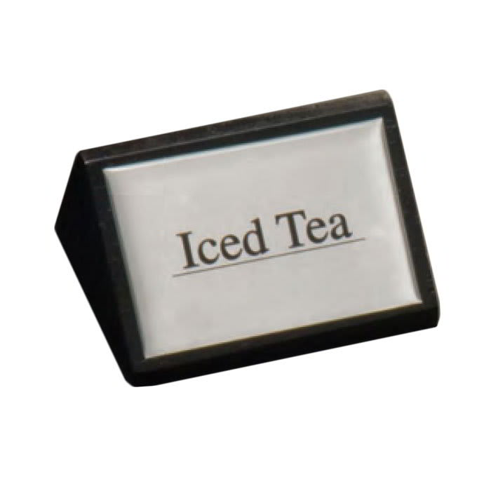 """American Metalcraft SIGNIT2 """"Iced Tea"""" Table Tent Sign - 1.75"""" x 3"""", Silver/Black Wood"""