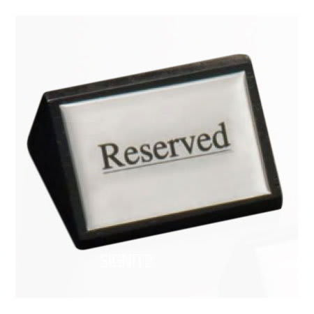 "American Metalcraft SIGNR6 ""Reserved"" Table Tent Sign - 1.75"" x 3"", Silver/Black Wood"