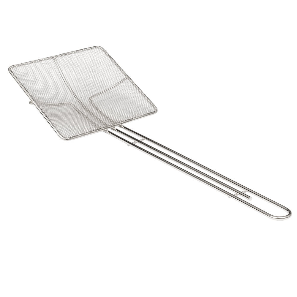 "American Metalcraft SKS714 7"" Square Skimmer w/ 14"" Handle, Tin/Mesh"