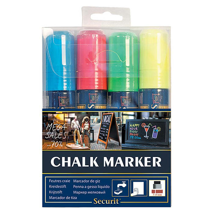 American Metalcraft SMA720V4 Big Tip Chalk Marker w/ 4 Assorted Colors, Smear Proof