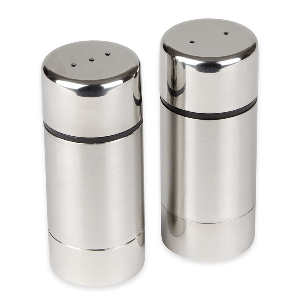 "American Metalcraft SP35 3.5"" Salt & Pepper Shaker Set w/ Metal Lid, Round"
