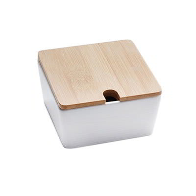 American Metalcraft SPCBL10 10-oz Square Jar - Bamboo Lid/White Porcelain