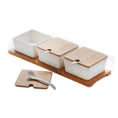 American Metalcraft SPCBLS30 Jar Set with Wood Tray - (3)10 oz Porcelain Jars/Lids