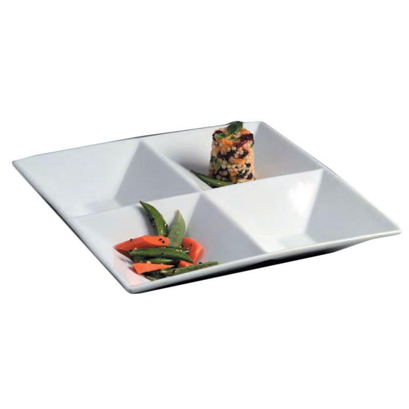 American Metalcraft SQDIV4 12-in Divided Platter w/ 4-Compartments, Porcelain/White
