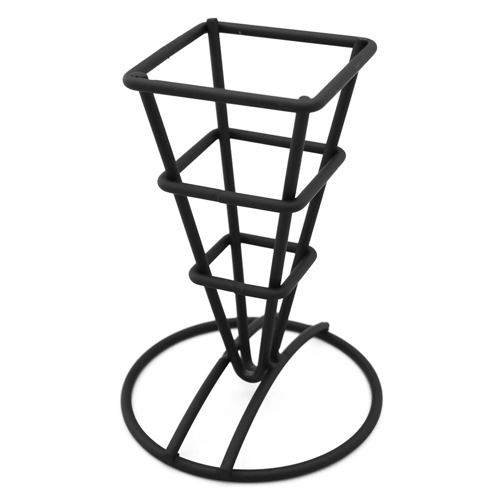 "American Metalcraft SQFBBL Fry Cone Holder - 2.5x3.63x5.25"", Square Top, Round Base, Black Finish"