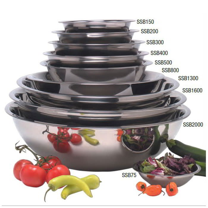 "American Metalcraft SSB300 9.5"" Mixing Bowl w/ 3-qt Capacity, Stainless"