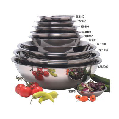"""American Metalcraft SSB500 11.5"""" Mixing Bowl w/ 5-qt Capacity, Stainless"""