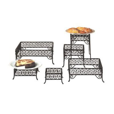 American Metalcraft SSRS8 6-Piece Square Riser w/ Scroll Design, Wrought Iron/Black