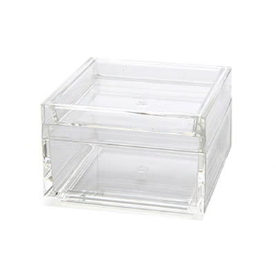 "American Metalcraft SSSB4 4"" Square Storage Box - Clear Acrylic"