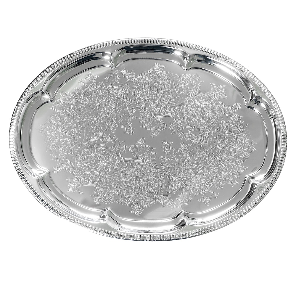 "American Metalcraft STOV1813 Elegance Serving Tray - 13x18"", Oval, Embossed, Chrome Plated"