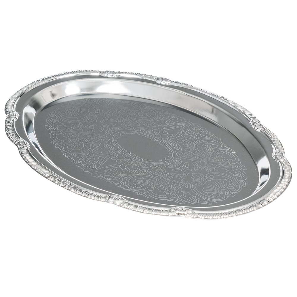 "American Metalcraft STOV96 Elegance Serving Tray - 6.75x9.5"", Oval, Embossed, Chrome Plated"