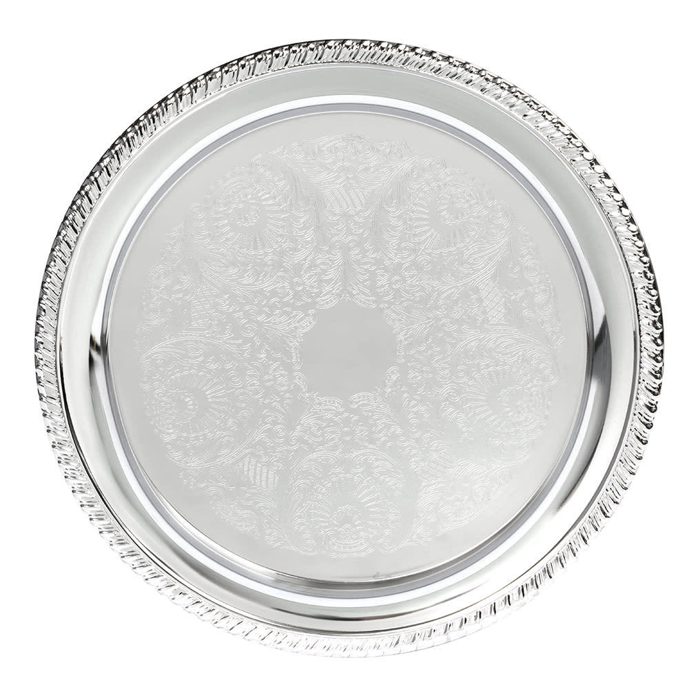 "American Metalcraft STRD210 10"" Elegance Serving Tray - Round, Embossed, Chrome Plated"