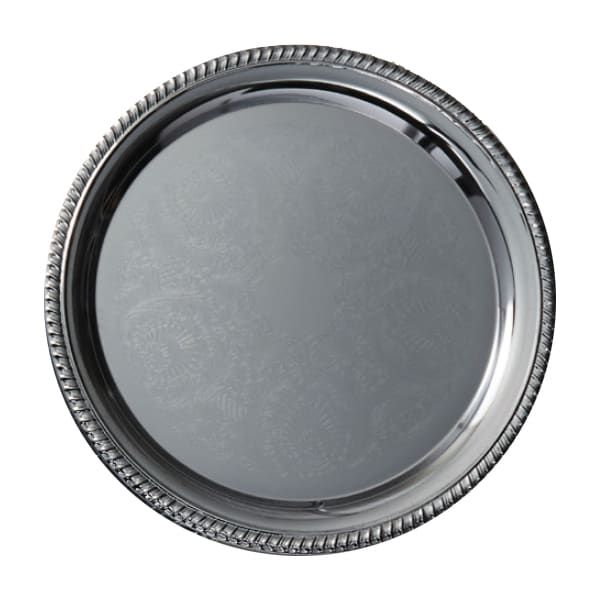 """American Metalcraft STRD212 12"""" Elegance Serving Tray - Round, Embossed, Chrome Plated"""
