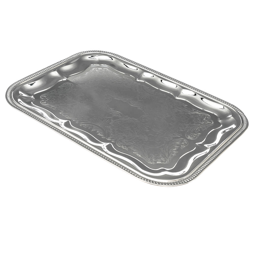 "American Metalcraft STRT1612 Elegance Serving Tray - 12x16"", Rectangular, Embossed, Chrome Plated"