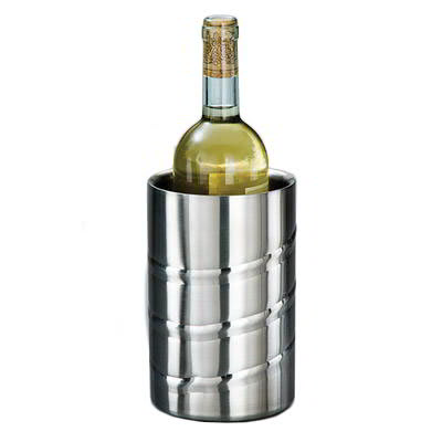American Metalcraft SWSC Swirl Embossed Wine Chiller w/ 1-Bottle Capacity, Double Wall Insulated