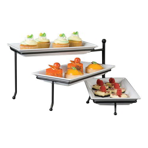 American Metalcraft TTREC3 3-Tier Display Stand, Swings Open From Center, Wrought Iron