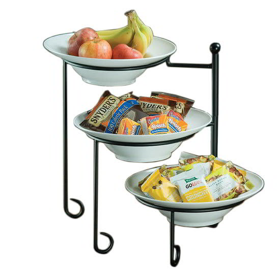 American Metalcraft TTRS3 3 Tier Display Stand, Swings Open From Center, Wrought Iron/Black