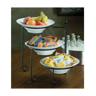 American Metalcraft TTRSMEL7 3 Tier Stand Set w/ Melamine Bowls - Wrought Iron, Black