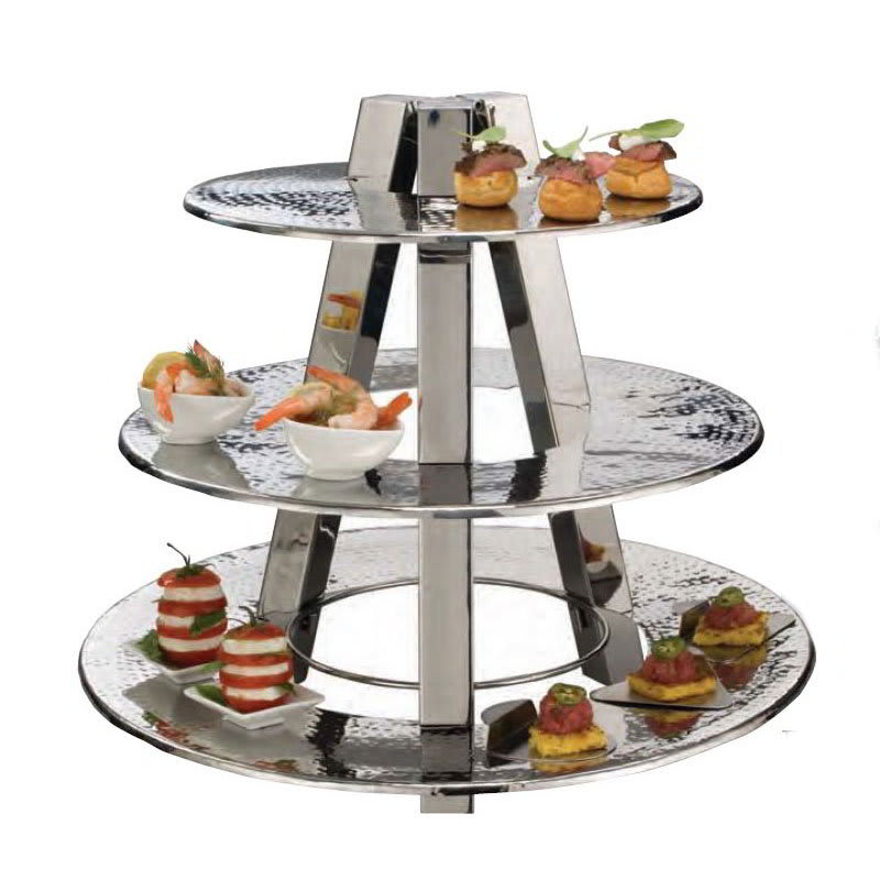 American Metalcraft TTS2319 3 Tier Accent Display Stand, Hammered, Stainless