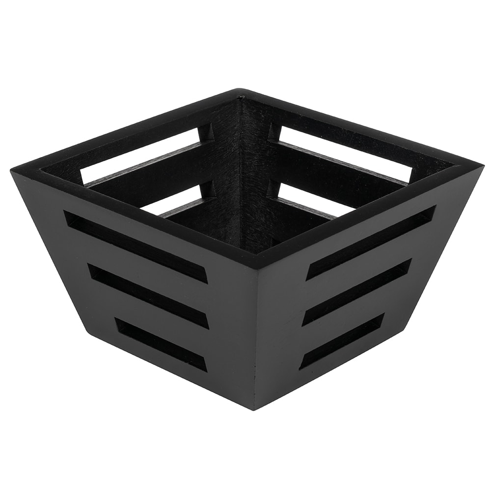 "American Metalcraft TWBB53 Square Bread Basket, 5x3"", Tapered, Birch"
