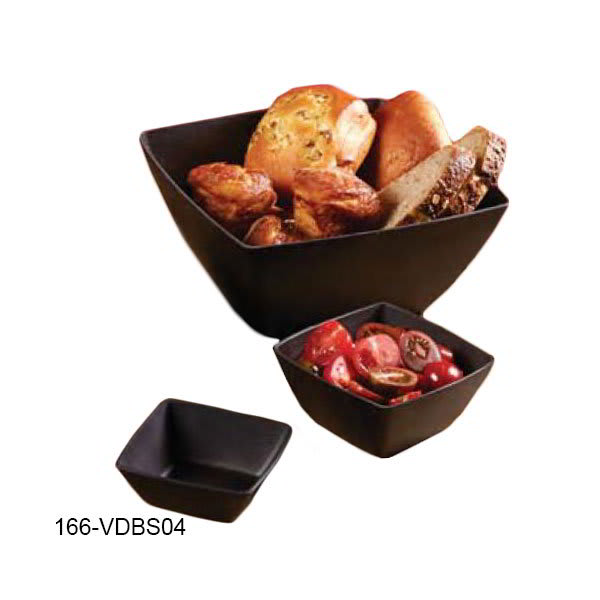 American Metalcraft VDBS04 8-oz Square Mini Bowl - Espresso Polystyrene