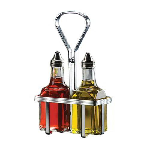 American Metalcraft VWB26 Square Oil & Vinegar Bottle w/ 6-oz Capacity, Glass/Stainless