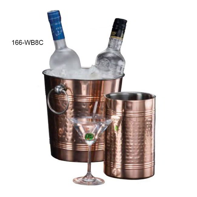 """American Metalcraft WB8C 9.37"""" Wine Bucket, Hammered Finish, Copper/Stainless"""