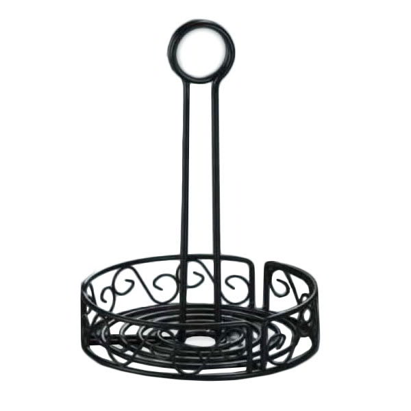 "American Metalcraft WBCC6 6.25"" Condiment Rack w/ Center Handle & Slot, Scroll Design, Wrought Iron/Black"