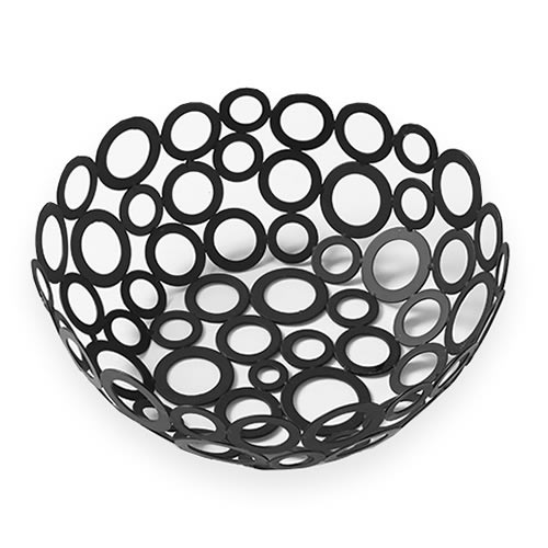 "American Metalcraft WBW80 8"" Round Basket w/ Ring Design, Black"