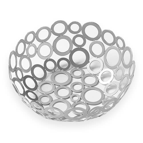 "American Metalcraft WCW81 8"" Round Basket w/ Ring Design, Silver"