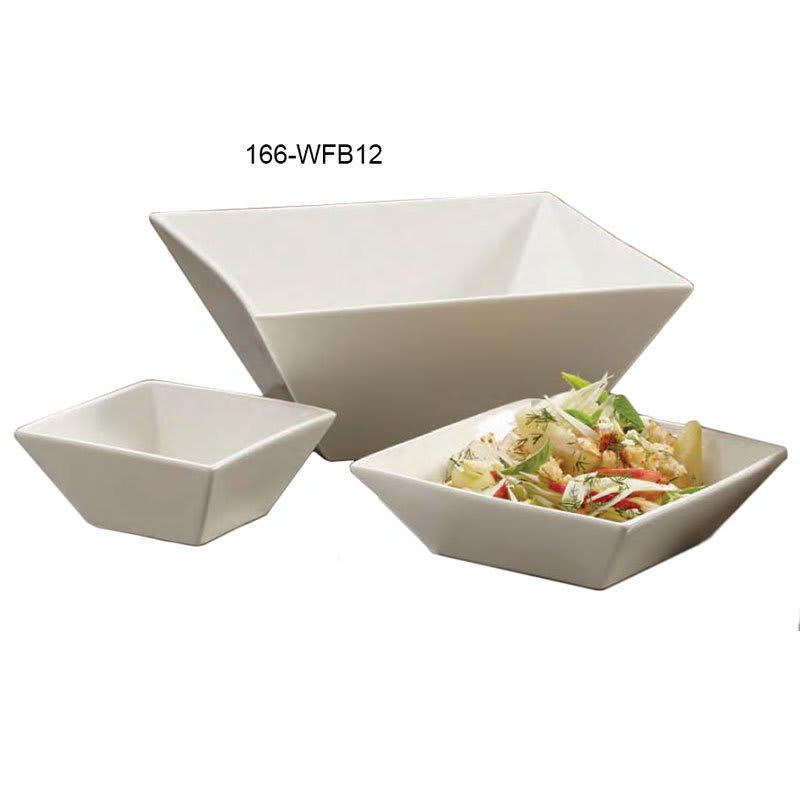 "American Metalcraft WFB12 12"" Square Bowl w/ 194 oz Capacity, White/Porcelain"