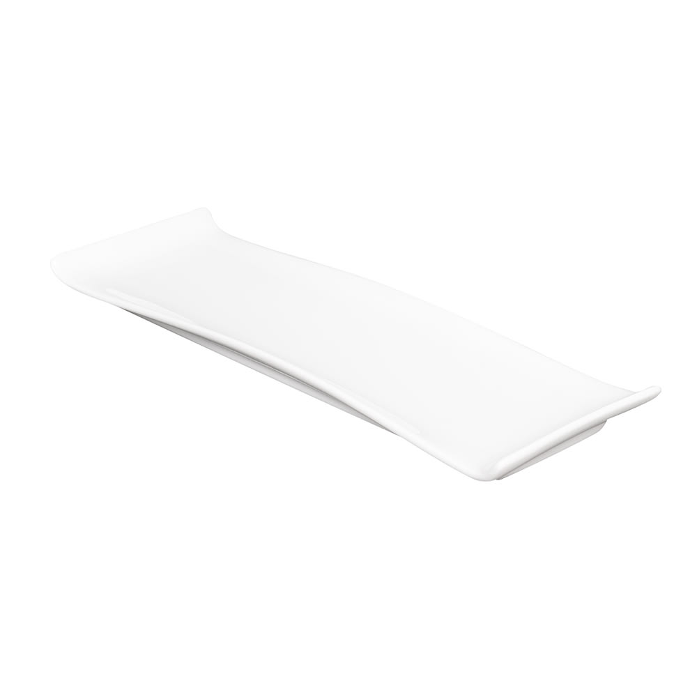 "American Metalcraft WLD11 Rectangular Platter w/ Curved Ends, 11.5x4"", White/Porcelain"