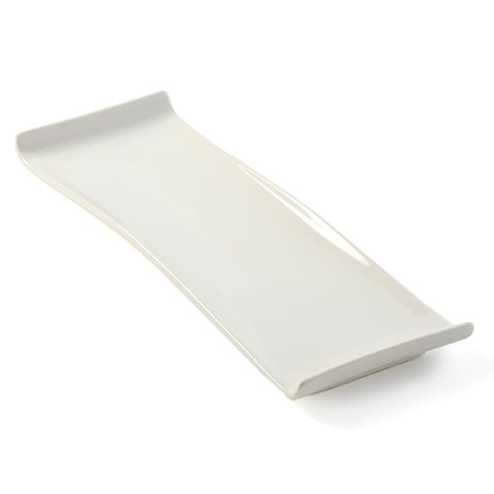 "American Metalcraft WLD13 Rectangular Platter w/ Curved Ends, 13.5x4.5"", White/Porcelain"