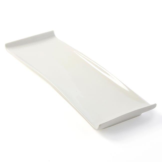 "American Metalcraft WLD15 Rectangular Platter w/ Curved Ends, 15.5x5"", White/Porcelain"