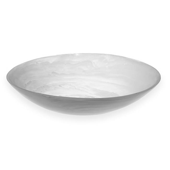 "American Metalcraft WSBL15 15-3/4"" Round Translucence Bowl - White Swirl Resin"