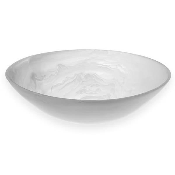 "American Metalcraft WSBM11 11-9/16"" Round Translucence Bowl - White Swirl Resin"