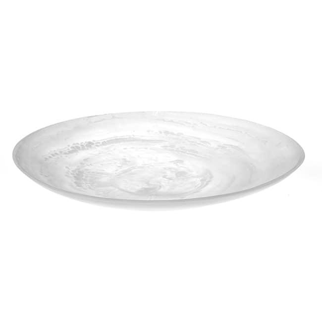 "American Metalcraft WSP15 15 7/8"" Round Translucence Platter - White Swirl Resin"